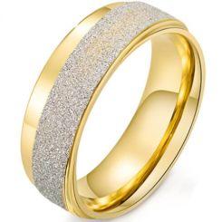 *COI Titanium Gold Tone Silver Sandblasted Ring-6844
