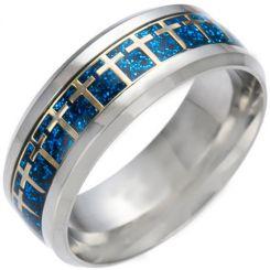 *COI Titanium Cross Blue/Silver/Gold Tone Meteorite Beveled Edges Ring-6849
