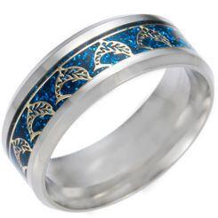 *COI Titanium Dolphin Blue/Silver/Gold Tone Meteorite Beveled Edges Ring-6850