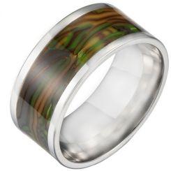 *COI Titanium Abalone Shell Pipe Cut Flat Ring-6853