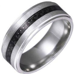 *COI Titanium Rose/Gold Tone/Silver Carbon Fiber Step Edges Ring-6856
