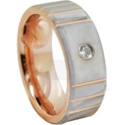 *COI Tungsten Carbide Rose Silver Grooves Ring With Cubic Zirconia-6860AA