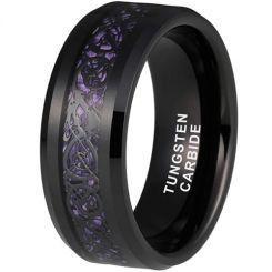 *COI Black Tungsten Carbide Dragon Beveled Edges Ring With Purple Carbon Fiber-6861AA