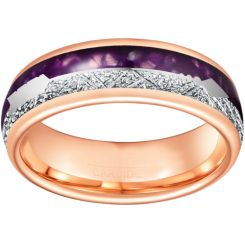 *COI Rose Tungsten Carbide Meteorite Lapis Lazuli Ring With Arrows-6862AA