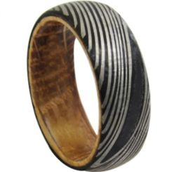*COI Black Tungsten Carbide Damascus Dome Court Ring With Wood-6863AA