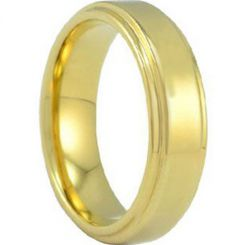 *COI Gold Tone Tungsten Carbide Polished Shiny Step Edges Ring-TG686A