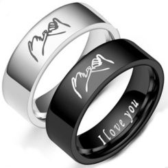 *COI Tungsten Carbide Black/Silver I Promise I Love You Pipe Cut Flat Ring-6872BB