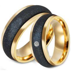 *COI Titanium Black Gold Tone Sandblasted Ring-6889AA