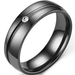 *COI Black Titanium Groove Dome Court Ring With Cubic Zirconia-6893BB