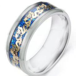 *COI Titanium Dragon Ring With Blue Meteorite-6894BB