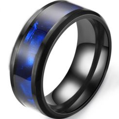 *COI Black Titanium Abalone Shell Beveled Edges Ring-6896CC