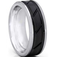 *COI Titanium Black Silver Diagonal Grooves Ring-6897BB
