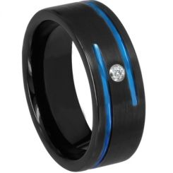 *COI Titanium Black Blue Double Grooves Ring With Cubic Zirconia-6898