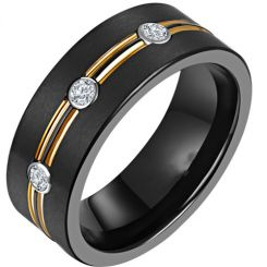 *COI Titanium Black Gold Tone Double Grooves Ring With Cubic Zirconia-6901