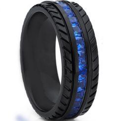 *COI Black Titanium Tire Tread Ring With Created Blue Sapphire-6903BB