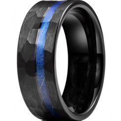 *COI Black Titanium Hammered Ring With Meteorite-6905BB