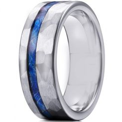 *COI Titanium Hammered Pipe Cut Flat Ring With Meteorite-6906