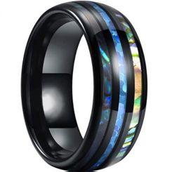 *COI Black Titanium Abalone Shell Dome Court Ring-6911BB