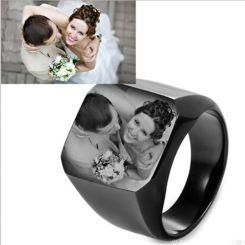 **COI Titanium Black/Silver/Blue/Gold Tone Signet Ring With Photo Engraving-6913DD