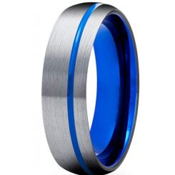 **COI Titanium Blue Silver Offset Grooves Dome Court Ring-6928BB