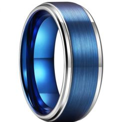 **COI Titanium Blue Silver Step Edges Ring-6929BB
