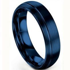 **COI Blue Titanium Offset Groove Dome Court Ring-6933BB