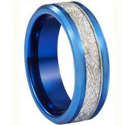 **COI Blue Titanium Beveled Edges Ring With Meteorite-6936BB