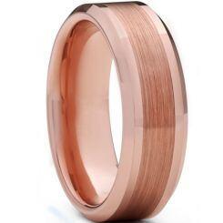 **COI Rose Titanium Polished Matt Beveled Edges Ring-6937BB