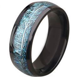 **COI Black Titanium Meteorite Dome Court Ring With Arrows-6938BB