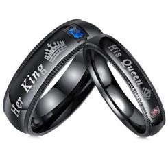 **COI Black Titanium His Queen/Her King & Crown Ring With Cubic Zirconia-6942BB