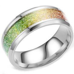 **COI Titanium Rainbow Pride Meteorite Beveled Edges Ring-6949BB