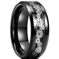 **COI Black Tungsten Carbide Gears Beveled Edges Ring-6951DD