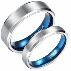 **COI Tungsten Carbide Blue Silver Beveled Edges Ring-6955DD