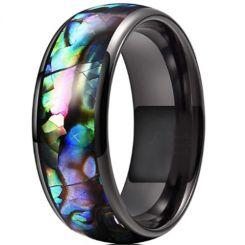 **COI Titanium Black/Silver Abalone Shell Dome Court Ring-6959CC