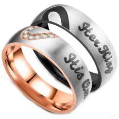 **COI Titanium Black/Rose Silver His Queen/Her King Ring-6960CC