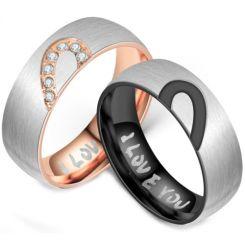 **COI Titanium Black/Rose Silver Heart Ring-6961CC