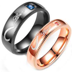 **COI Titanium Black/Rose Love & Heart Ring With Cubic Zirconia-6963CC