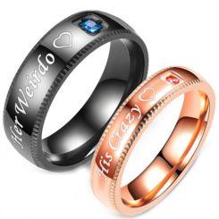 **COI Titanium Black/Rose Her Weirdo/His Crazy Ring With Cubic Zirconia-6964CC