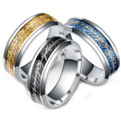 **COI Titanium Black/Gold Tone/Blue Silver Lord of The Ring Beveled Edges Ring-6966CC