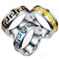 **COI Titanium Black/Gold Tone/Blue Silver Greek Key Pattern Beveled Edges Ring-6967CC