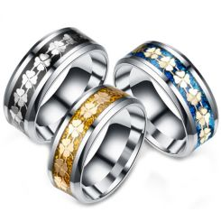 **COI Titanium Black/Gold Tone/Blue Silver Clover Floral Pattern Beveled Edges Ring-6968CC