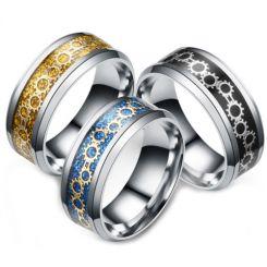 **COI Titanium Black/Gold Tone/Blue Silver Gears Beveled Edges Ring-6971CC