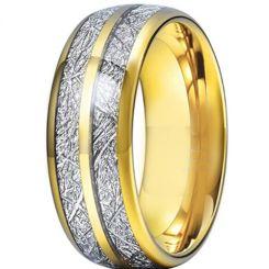 **COI Titanium Gold Tone/Silver Meteorite Dome Court Ring-6972CC