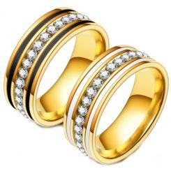 **COI Gold Tone Titanium Black/White Ceramic Ring With Cubic Zirconia-6977BB