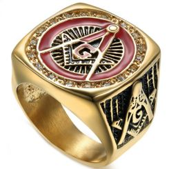 **COI Gold Tone Titanium Black Red Masonic Freemason Ring With Cubic Zirconia-6980BB