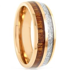 COI Gold Tone Tungsten Carbide Meteorite Wood Ring-TG793