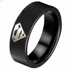 COI Black Tungsten Carbide Superman Pipe Cut Ring-TG798