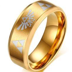 COI Gold Tone Titanium Legend of Zelda Beveled Edges Ring-806