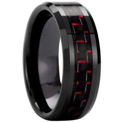 COI Black Titanium Beveled Edges Ring With Carbon Fiber-825