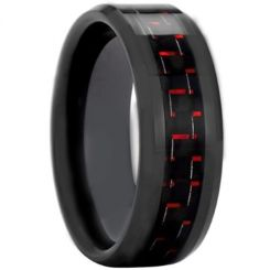 COI Black Tungsten Carbide Carbon Fiber Beveled Edge Ring-TG3693